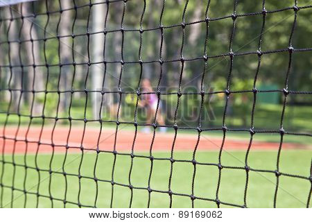 close up of net on tennis court