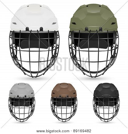 Set of goalkeeper hockey helmets, isolated.