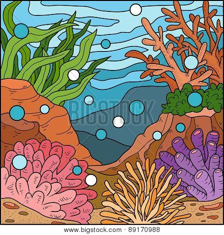 Vector Illustration, Ocean Background (coral Reef)