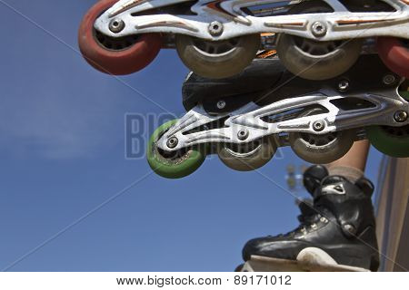 inline skates close up in skate park