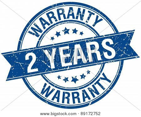 2 Years Warranty Grunge Retro Blue Isolated Ribbon Stamp