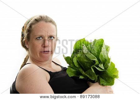 big pregnant woman silly face vegetables
