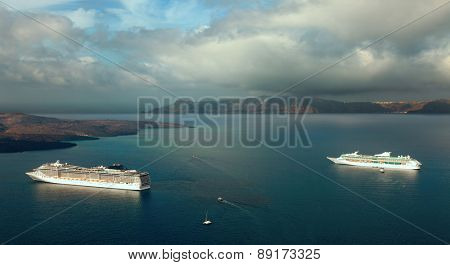 Sea liner in bay near Santorini island, Greece