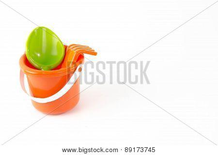summer toys bucket  isolated on white background