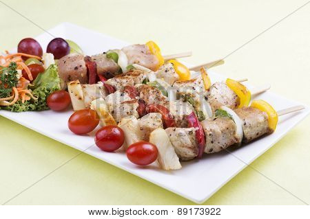 Grill Pork Barbecue And Vegetable