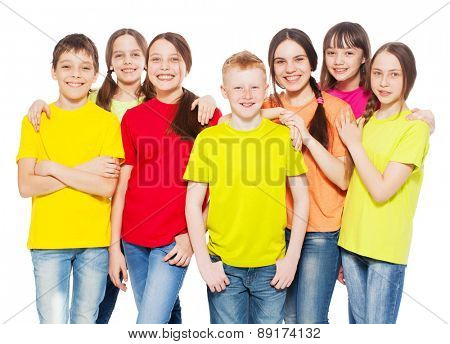 Happy group children isolated at white background. Smiling teen. Friendship boys and girls