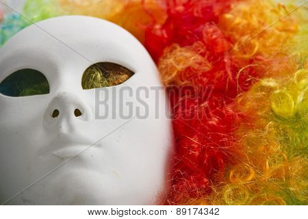 colorful rainbow wig and venice carnival mask