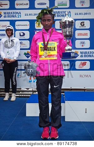 Meseret Kitata Tolwak, Won The Women's Race At The 21Th Rome Marathon