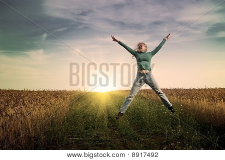 Jump Women In Wheat Field