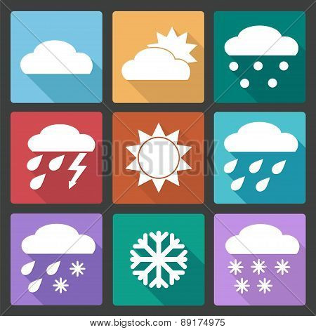 Colored Square Icons Set Of Weather Forecast