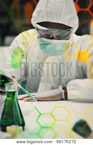 Woman working in protective suit against science and medical graphic