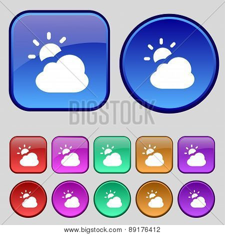 Weather Icon Sign. A Set Of Twelve Vintage Buttons For Your Design. Vector