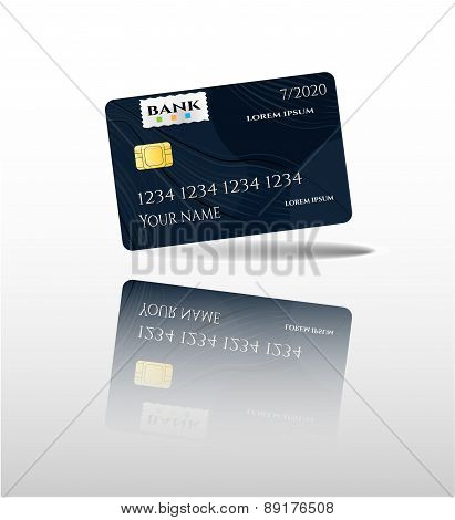 Realistic, isolated black credit card with pattern, white background