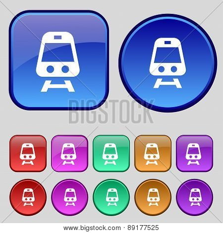 Train Icon Sign. A Set Of Twelve Vintage Buttons For Your Design. Vector