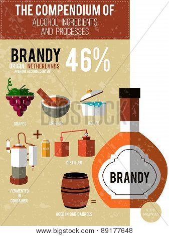 Vector Illustration - A Compendium Of Alcohol Ingredients And Processes. Brandy Info Graphic Backgro