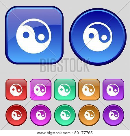 Ying Yang Icon Sign. A Set Of Twelve Vintage Buttons For Your Design. Vector