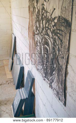 Set of finished modern artworks in artist studio