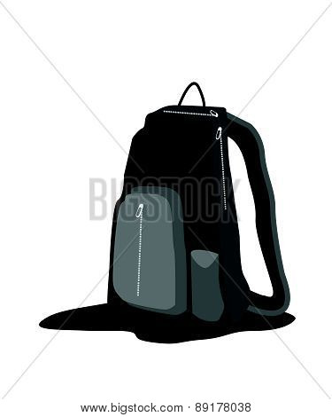 Black Backpack Standing On White Background