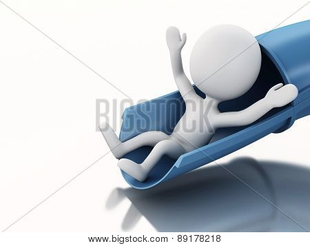 3d white people on water slide. Summer holiday concept