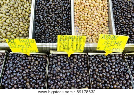 black and green olives on market
