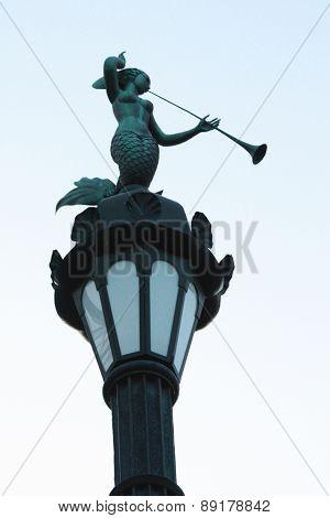 Russia, St. Petersburg, Mermaid On A Lamppost