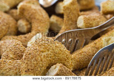 Turkish traditional breakfast bagel simit