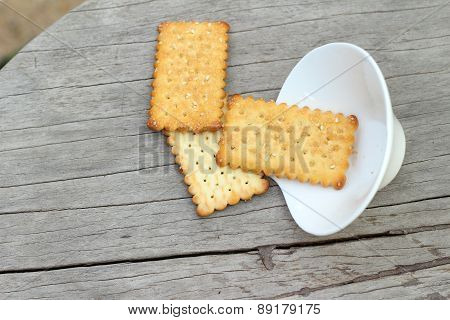 Tasty Of Crackers On Wood Table