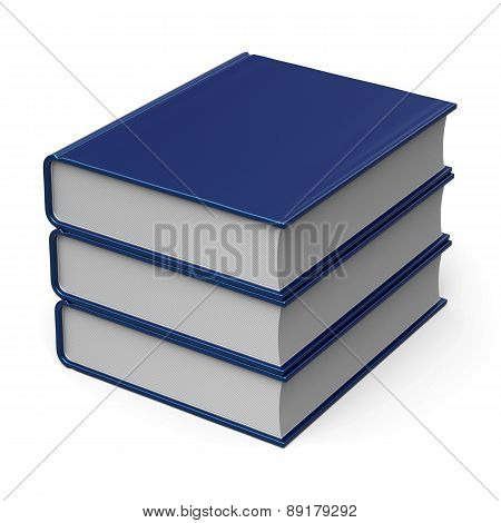 Books Stack 3 Three Blank Cover Blue Content Archive Icon