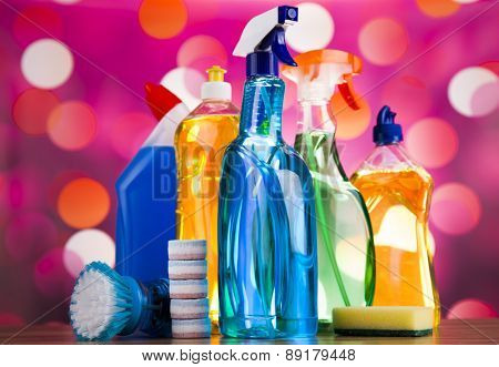 Cleaning, home work colorful theme