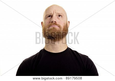confused man looking up isolated on white background