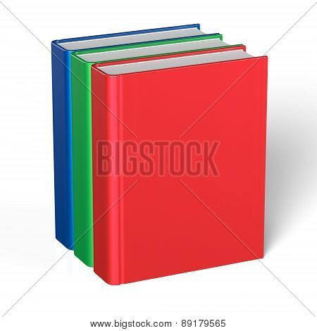 Books Blank Cover Standing Three 3 Textbook Workbook