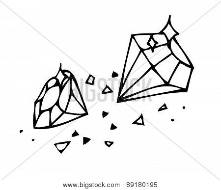Vector. Sketch. Brilliant Gems On A White Background