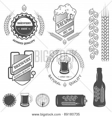 Brewing emblems and design elements.