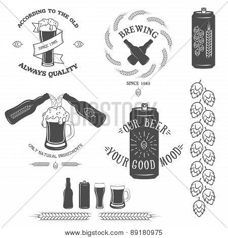 Vintage beer emblem and design elements.