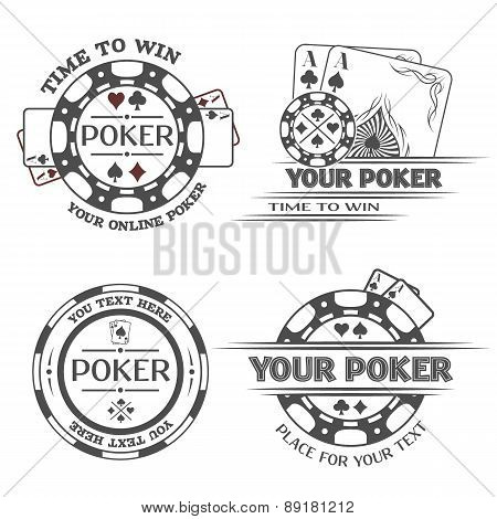 Set poker emblems.