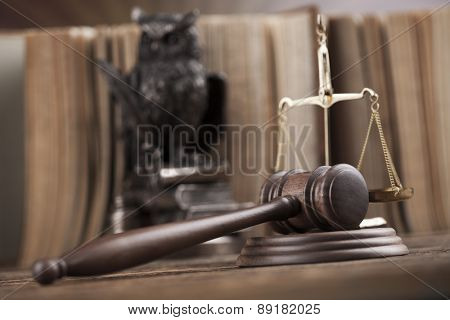 Judges wooden gavel, ambient light vivid theme