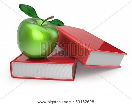 Green Apple Red Books Textbook Education Studying Icon