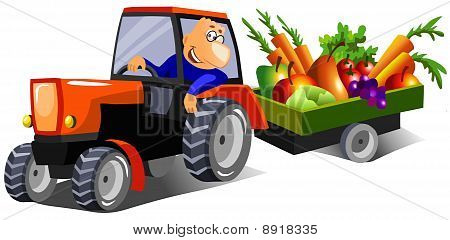 happy farmer driving a tractor
