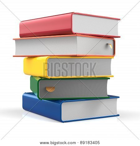 Books Stack Blank Covers Red Orange Yellow Green Blue Five