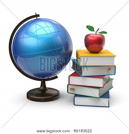 Books Globe And Apple Blank Study Knowledge Symbol
