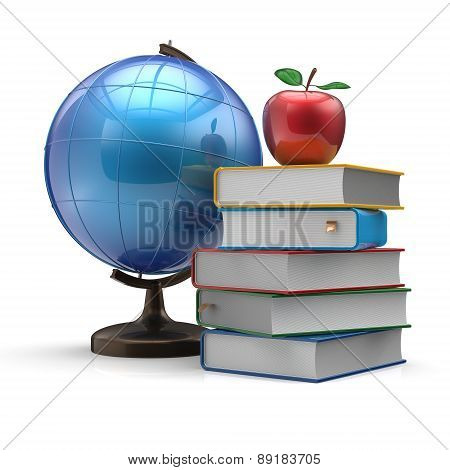 Globe Books And Apple Blank Study Knowledge Symbol Concept