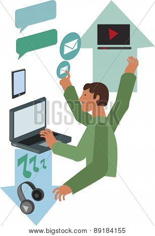 Vector Design. Businessman And Technology Object.