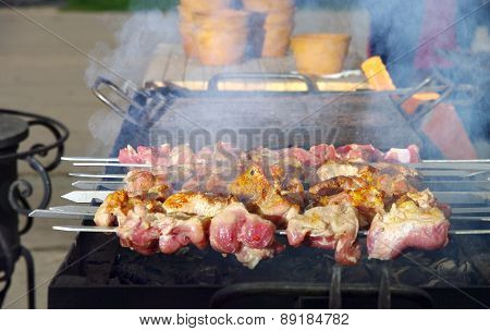 Barbecue cooked on fire