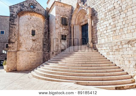 Steep Stairs Inside The Old Town Of Dubrovnik. Architectural Detail.