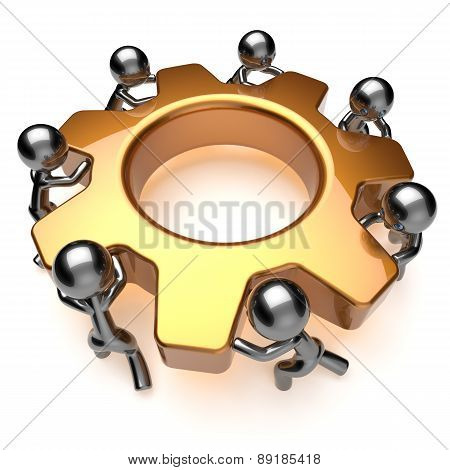 Teamwork Business Process Gear Workers Partnership Icon