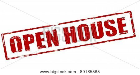 Rubber stamp with text open house inside vector illustration