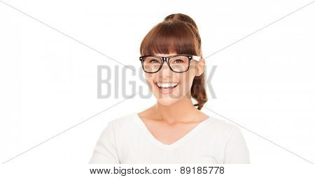 happiness, health and vision concept - laughing asian woman in eyeglasses
