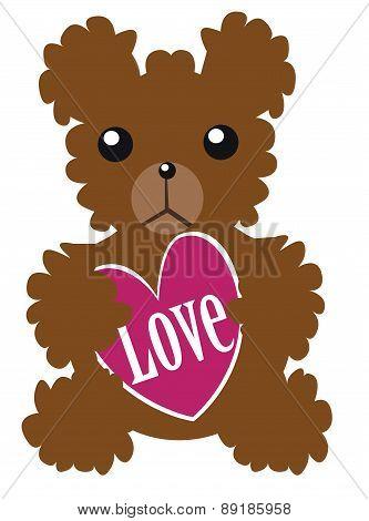Teddy Bear With Love Heart. Vector