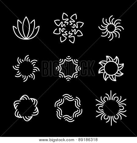 Vector Line Icon Set Of Flower Designs & Floral Elements