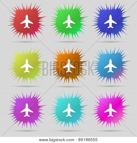 Airplane, Plane, Travel, Flight Icon Sign. A Set Of Nine Original Needle Buttons. Vector